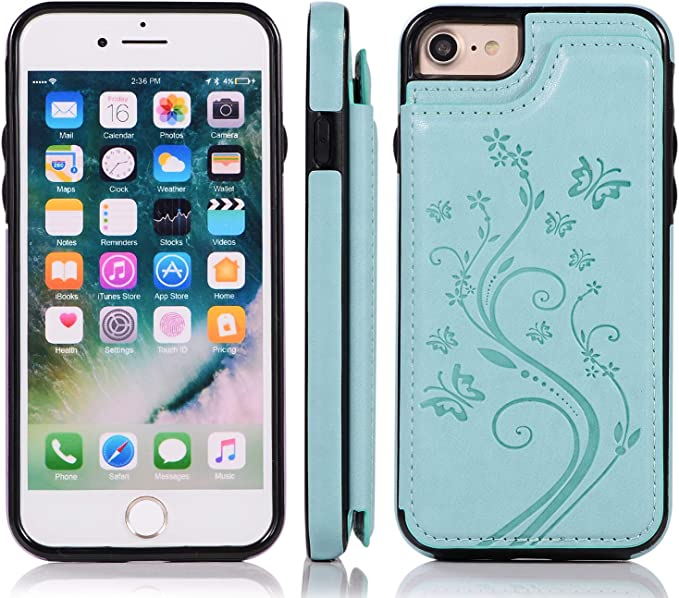 Gold Butterfly Flower Slim Fit Premium Leather Phone Case with Card Holder Shockproof Flip Cover Bumper Back Wallet Case for iPhone 7//8 with Stand,QFFUN Elegant Embossed Design