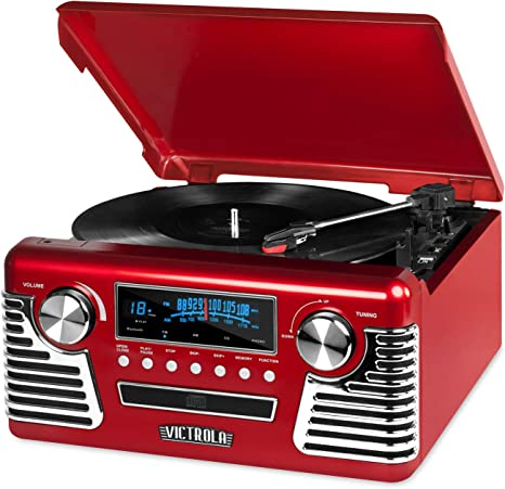 Victrola 50s Retro 3-Speed Bluetooth Turntable with Stereo, CD Player and Speakers, Red