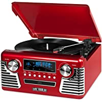 Victrola 50's Retro Bluetooth Record Player & Multimedia Center with Built-in Speakers - 3-Speed Turntable, CD Player…