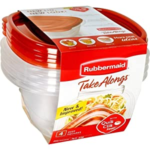 Rubbermaid TakeAlongs Deep Square Food Storage Containers, 5.2 cups, 4 pack, Tint Chili Red