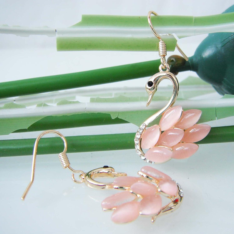 Navachi Boucles d/'oreilles pendantes plaqu/é or jaune 18/K avec cristal opale bleu marine cygne oiseau