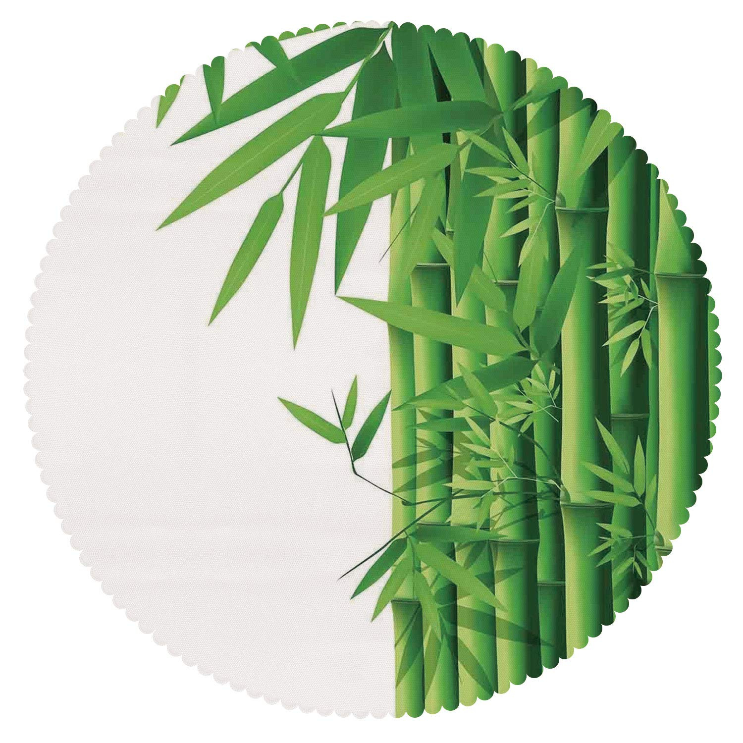 iPrint Unique Round Tablecloth [ Bamboo,Modern Illustration of Fresh Bamboo Stems Leaves with Colors Exotic Nature Home Decor Decorative,Green White ] Home Accessories Set