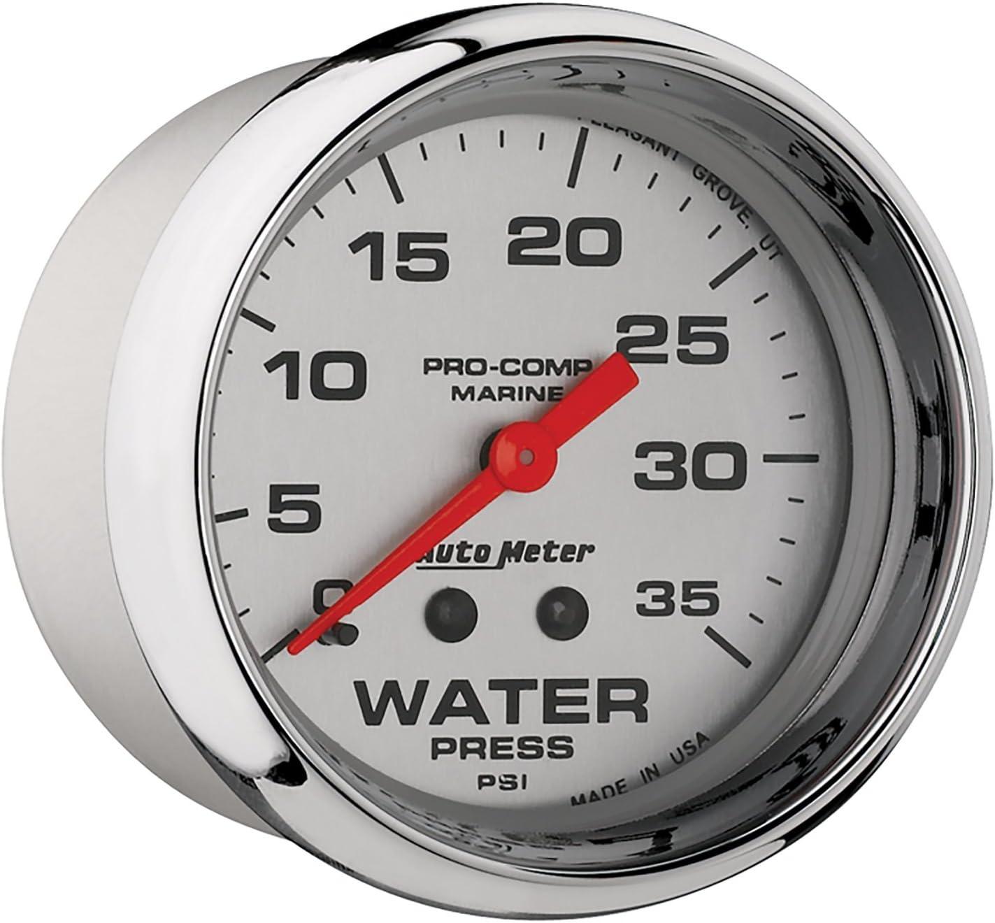 Water Press Auto Meter AutoMeter 200773-35 Ultra-Lite Gauge 2 5//8 35Psi Mechanical Marine Chrome