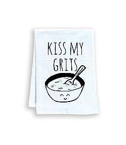 Kiss My Grits, Funny Flour Sack Kitchen Towel, Sweet Housewarming Gift, Farmhouse Kitchen Decor, White
