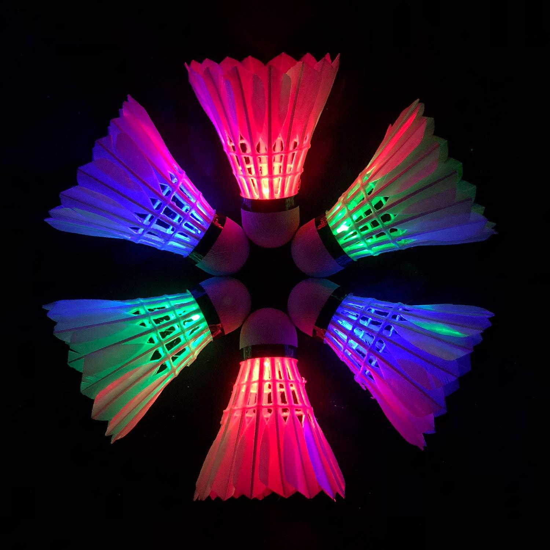 Senston 6Pcs LED Goose Feather Badminton Shuttlecocks, Dark Night Glow Birdies Lighting for Outdoor Indoor Sports Activities