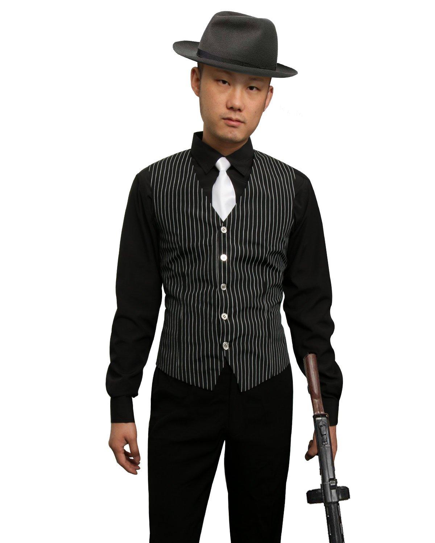 202b3c43123 Jila 1920s Adult Men's Gangster Shirt, Vest and Tie Costume Accessories Set  Roaring 20s Fancy Dress up Outfit Suit (Medium)