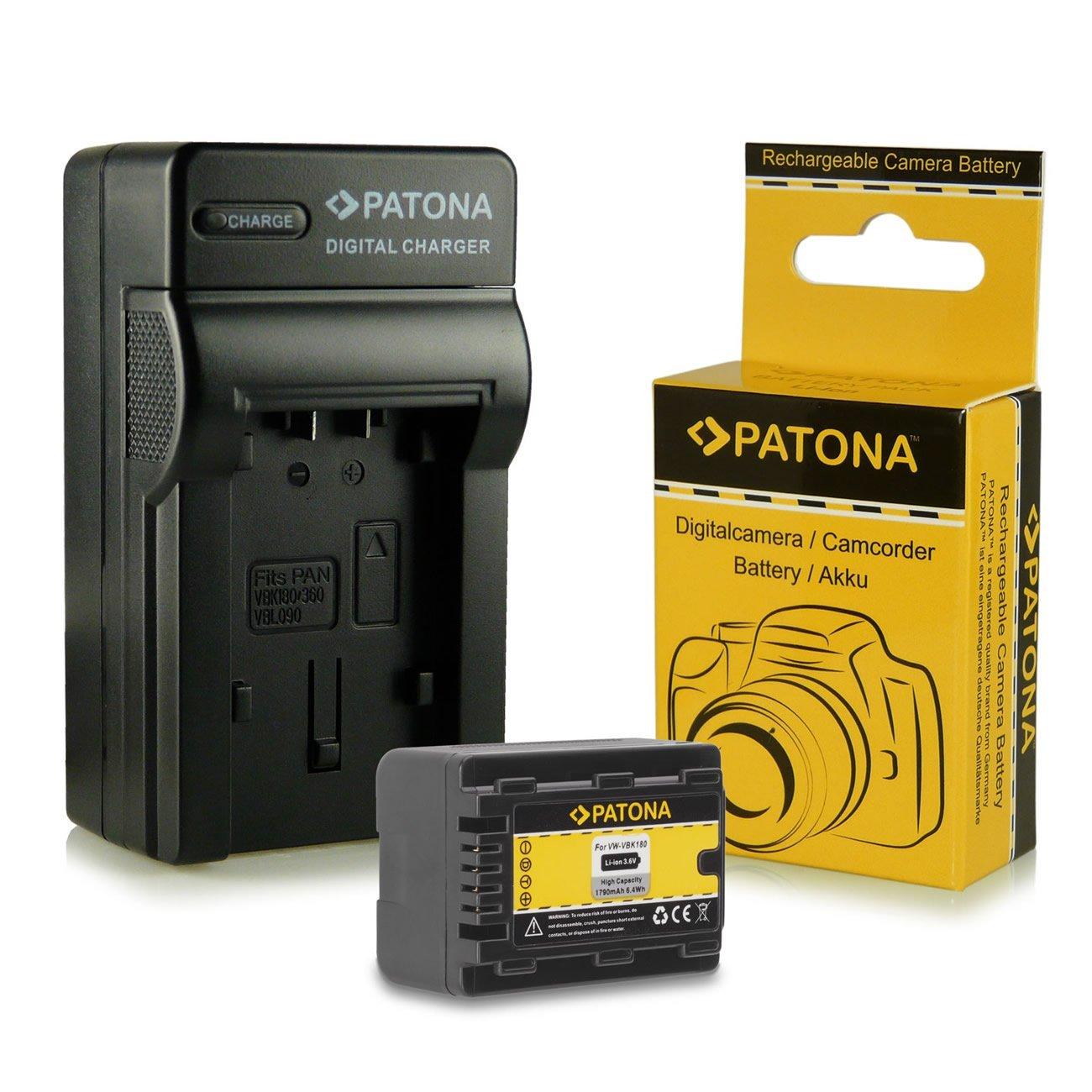 Caricabatteria + Batteria VW-VBK180 per Panasonic Camcorder HC-V10 | HC-V100 | V100M | HC-V500 | V500M | HC-V700 | V700M | HC-V707 | V707M | HDC-HS60 | HDC-HS80 | HDC-SD40 | HDC-SD60 | HDC-SD66 | HDC-SD80 | HDC-SD90 | HDC-SD99 | HDC-SDX1 | HDC-TM40 | HDC-T