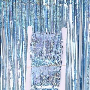 Terraneos Door Streamers 2Pack Foil Fringe Curtain Backdrop 3X9.8FT/1X3M Cheerleader Pom Poms Door Stick for Graduation Christmas Decor Valentine's Day Birthday Wedding Party Decorations(Light Blue)
