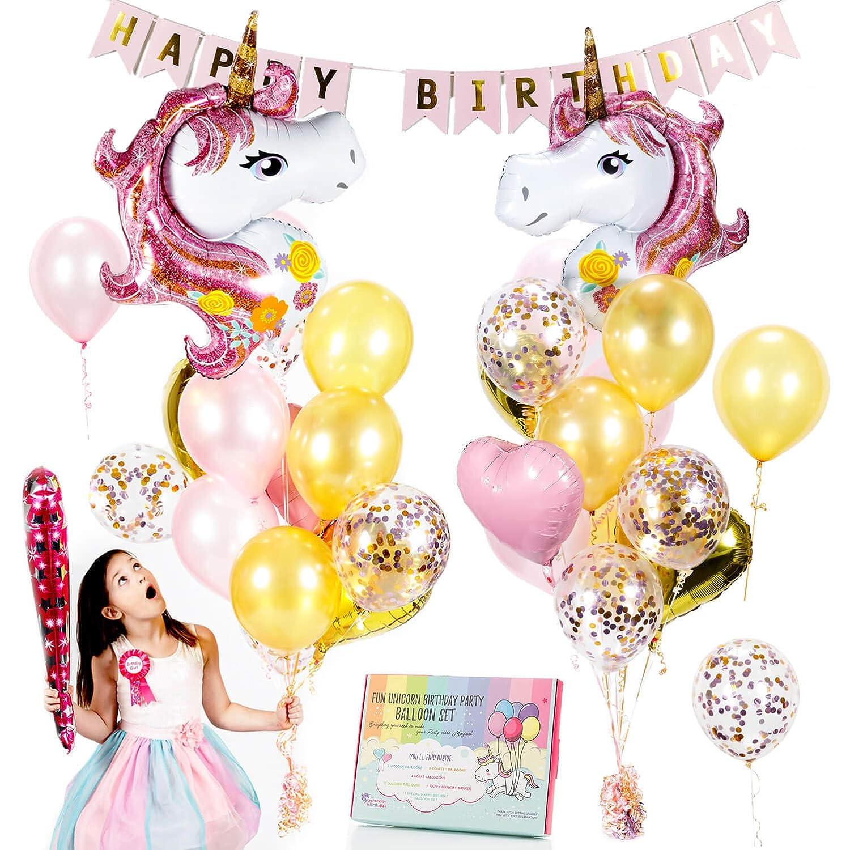 Amazon.com: Unicorn Balloons Set - Pink & Rose Gold Unicorn Party ...