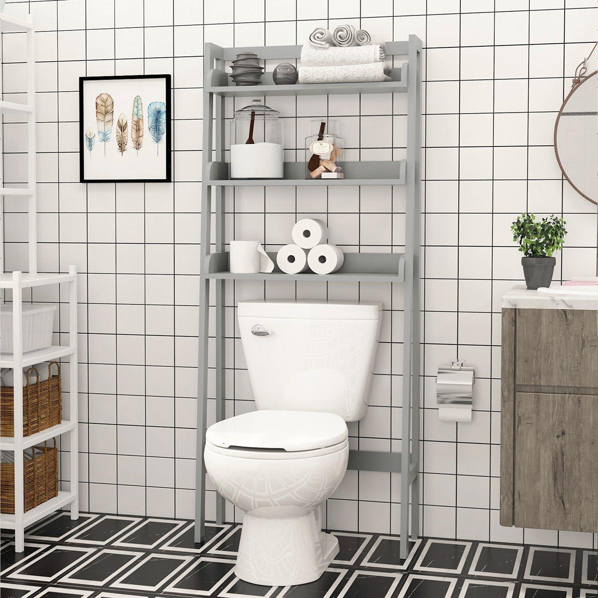 Amazon Com Utex 3 Shelf Bathroom Organizer Over The Toilet Bathroom Spacesaver Gray Kitchen Dining