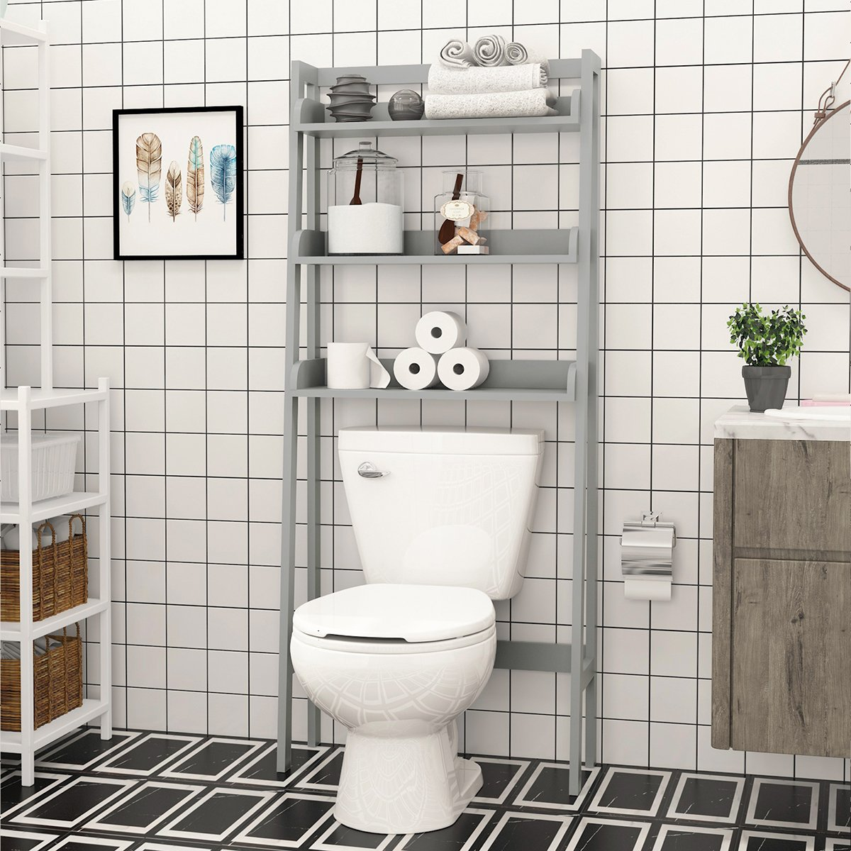 UTEX 3-Shelf Bathroom Organizer Over The Toilet, Bathroom Spacesaver (Espresso) SS17-UTX102E