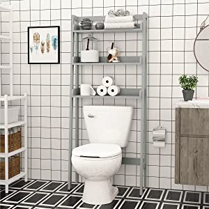 UTEX 3-Shelf Bathroom Organizer Over The Toilet, Bathroom Spacesaver (Gray)
