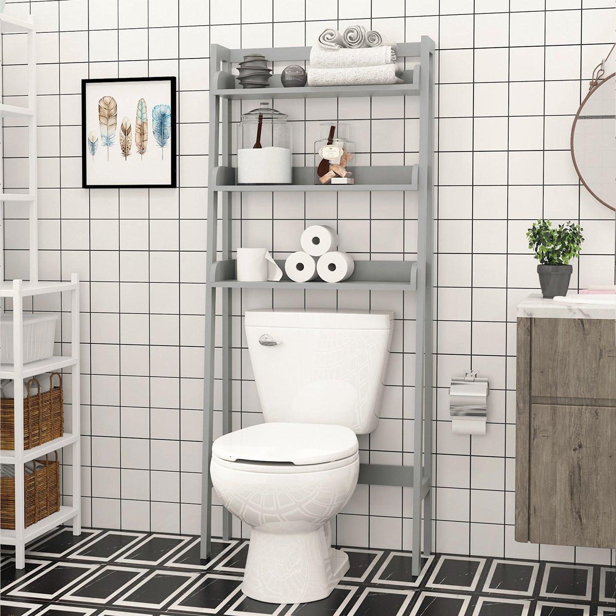 UTEX 3-Shelf Bathroom Organizer over the Toilet, Bathroom Spacesaver (Gray)