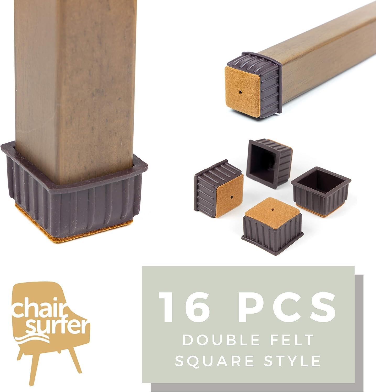 Chair Leg Caps Floor Protectors - (Square/16 Piece Set) | Double Felt for Easy Hardwood Floor Protection, No Noise, No Dust, Stronger Grip (24-25mm)