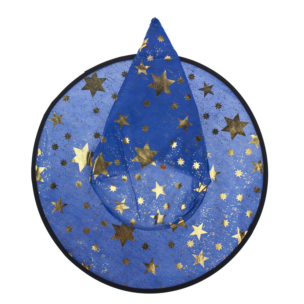 Lux Accessories Halloween Blue See Through and Gold Tone Star Witch Hat