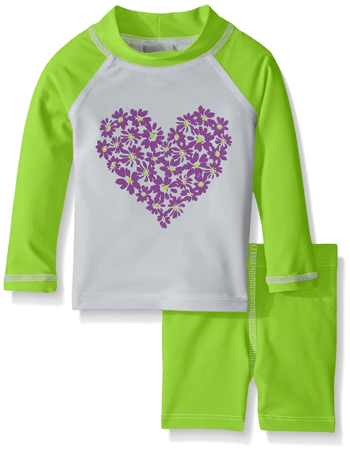 Flap Happy Baby Girls' UPF 50+ Graphic Rash Guard and Swim Short Set - Baby RLPB6AZ