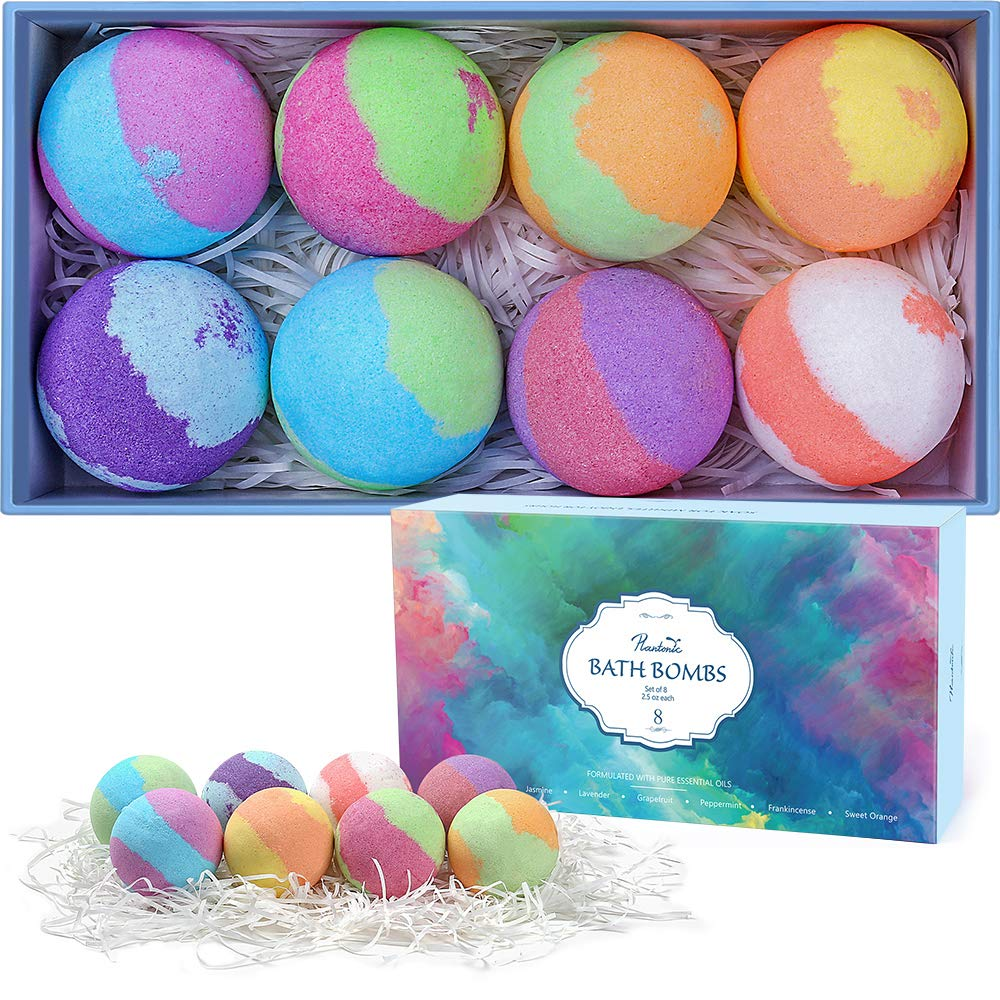 Plantonic Bath Bombs Gift Set, Ultra Large Spa Fizz Bath Bombs Kit With Dried Flower Petals in Luxurious Gift Box, Ideal Alternative to Bubble Baths & Bath Salts, Pack of 6
