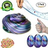 Fluffy Slime Floam Slime Galaxy Egg Slime Non Toxic Slime DIY Stress Relief Toys for Kids and Adult-3 Pack
