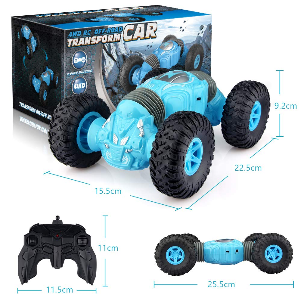 Epoch Air Remote Control Car Kids Toys RC Cars with Double-Side 4WD Off Road Stunt Transforming Truck Radio Controlled Vehicle Gifts for Boys Girls Teenagers Indoor Outdoor Garden Games