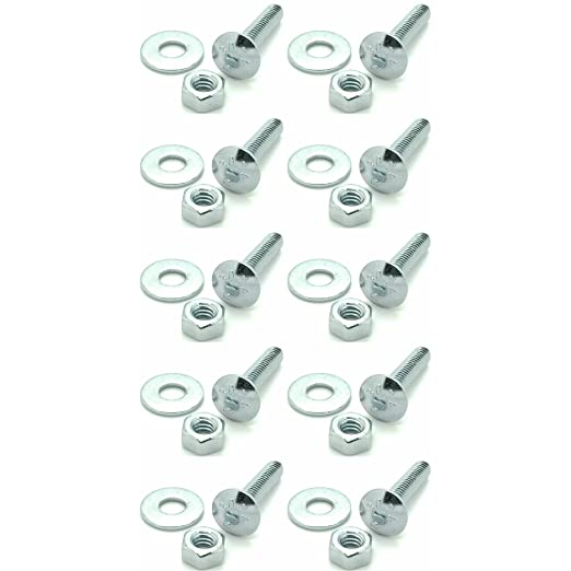 10 BCP299 5//16-18 x 1-1//4 Long Carriage Bolts Set w//Nuts /& Washers Ten
