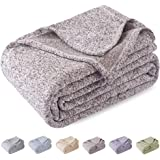 KAWAHOME Summer Knit Blanket Lightweight Breathable Fuzzy Heather Jersey Thin Blanket for Couch Sofa Bed King Size 108 X…