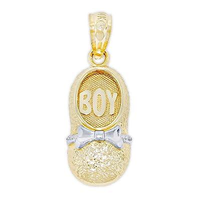 3f0901be7 Amazon.com: Charm America - Gold Newborn Baby Boy Charm - 14 Karat Solid  Gold: Jewelry