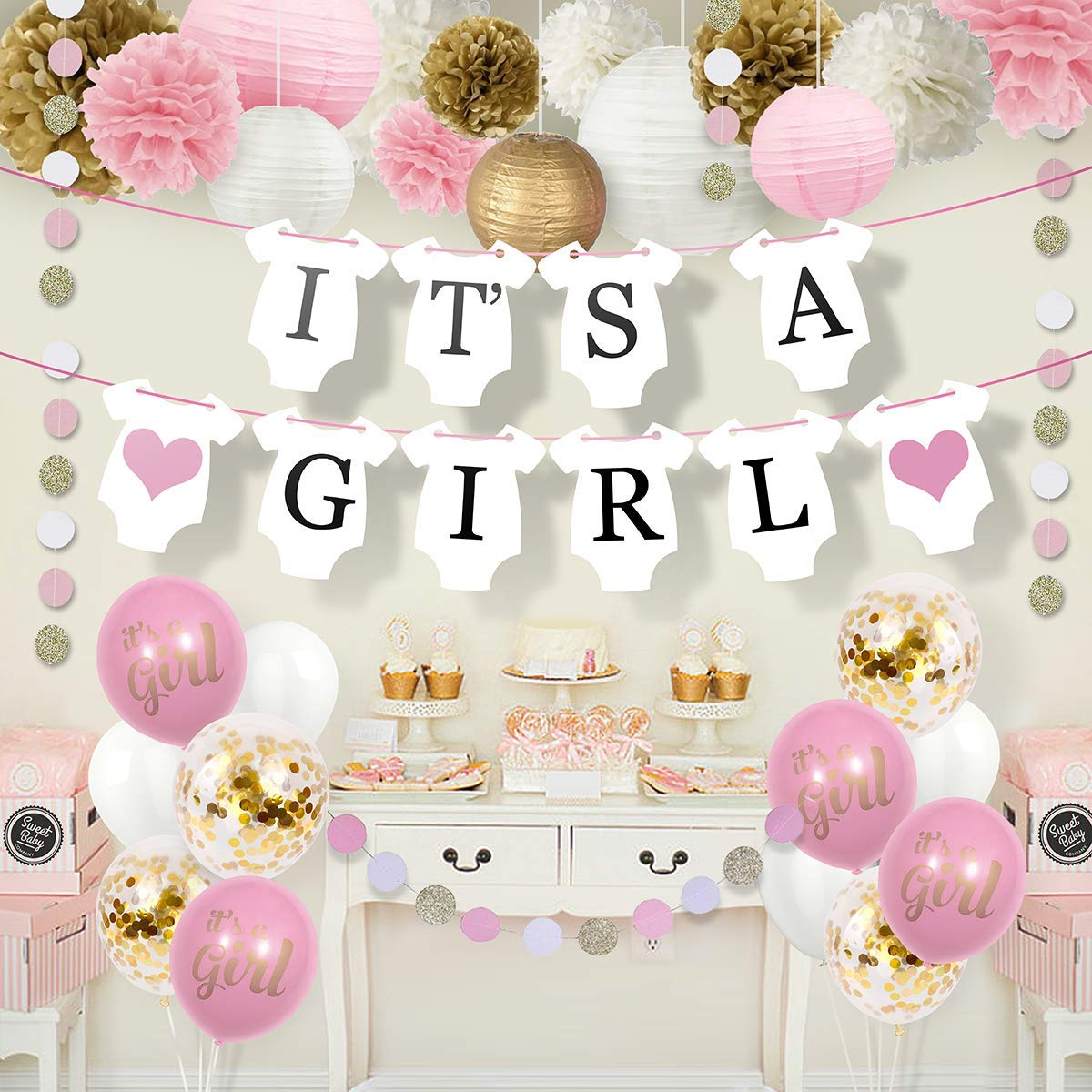Sweet Baby Co. Baby Shower Decorations For Girl With It's A Girl Banner,  Paper Lanterns, Paper Flower Pom Poms, Confetti Balloons, Paper Garland  (Pink, ...