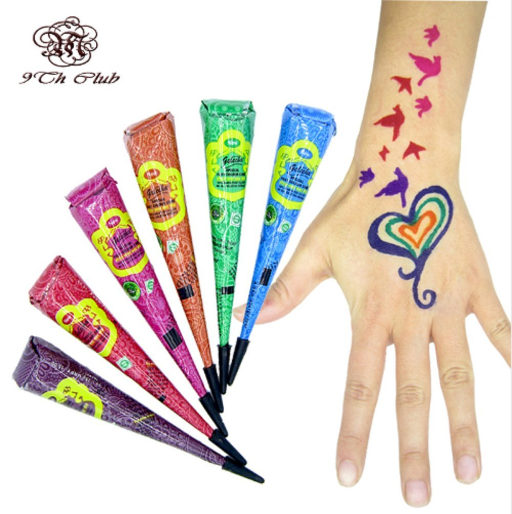 d3a7887e7 Buy 6pcs Colored GOLECHA Henna Tattoo Paste Cream Cones, Indian Mehndi 6  Color Red Blue Henna Tattoo Paste For Body Paint 25g Online at Low Prices  in India ...