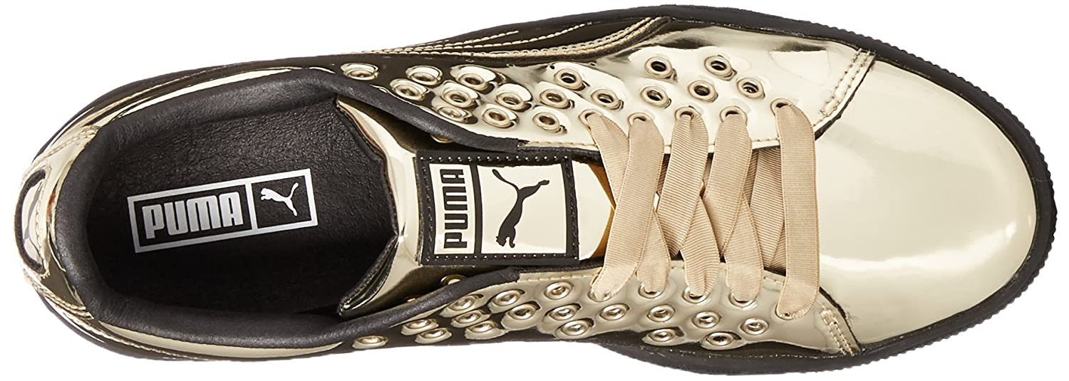 PUMA Women's Basket XL Lace Metal Wn Sneaker B01N2UK2JM 10.5 M US|Gold-gold