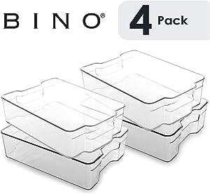 BINO Stackable Plastic Organizer Storage Bins, Large - 4 Pack - Pantry Organization and Storage Refrigerator Organizer Bins Fridge Organizer Freezer Organizer Pantry Organizer Pantry Storage