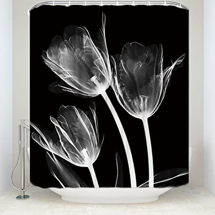 019ae8d7ec3 Amazon.com  Crystal Emotion Mystic Tulip Flowers Florals Shower Curtains  Fabric Polyester Bathroom Curtains with Hooks ¡§Trio X-Ray