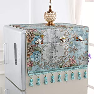 XK Luxury European Refrigerator Dust Cover Multi-Purpose Refrigerator Towel Automatic Washing Machine Top Cover with Storage Bag-j 60x170cm(24x67inch)