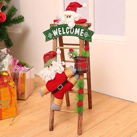 GR5AS Escalera de Madera Decoración de Navidad Escalera Viejo Adorno de Navidad decoración del Hotel Decoración por la Ventana (Color : A): Amazon.es: Hogar