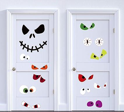 Halloween Door Cover Decorations Monster Eyes Jack , Wall Window Room Decor  Ornaments