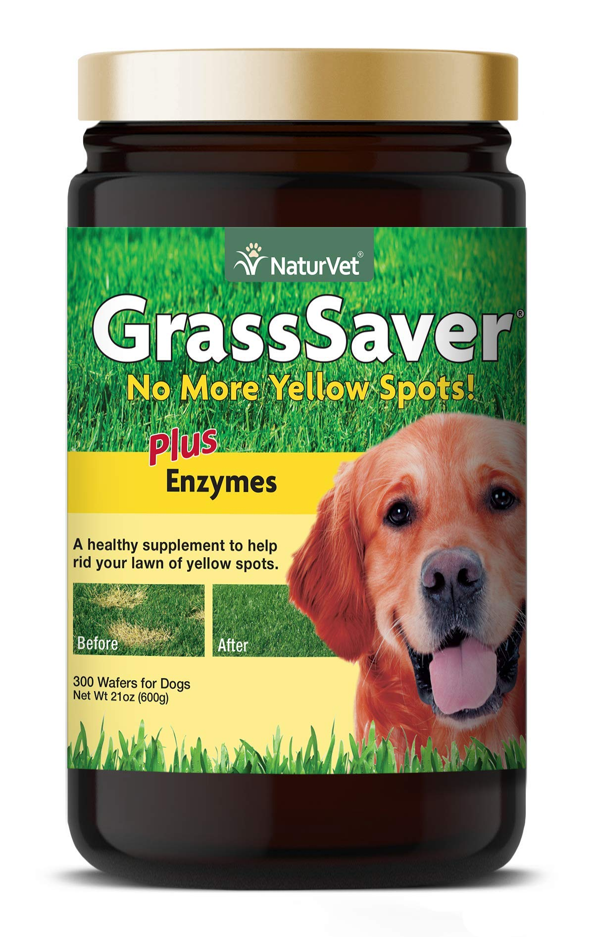 NaturVet - GrassSaver Wafers For Dogs Plus Enzymes - 300 Wafers - Healthy Supplement to Help Rid Your Lawn of Yellow Spots - Synergistic Combination of B-Complex Vitamins & Amino Acids by NaturVet