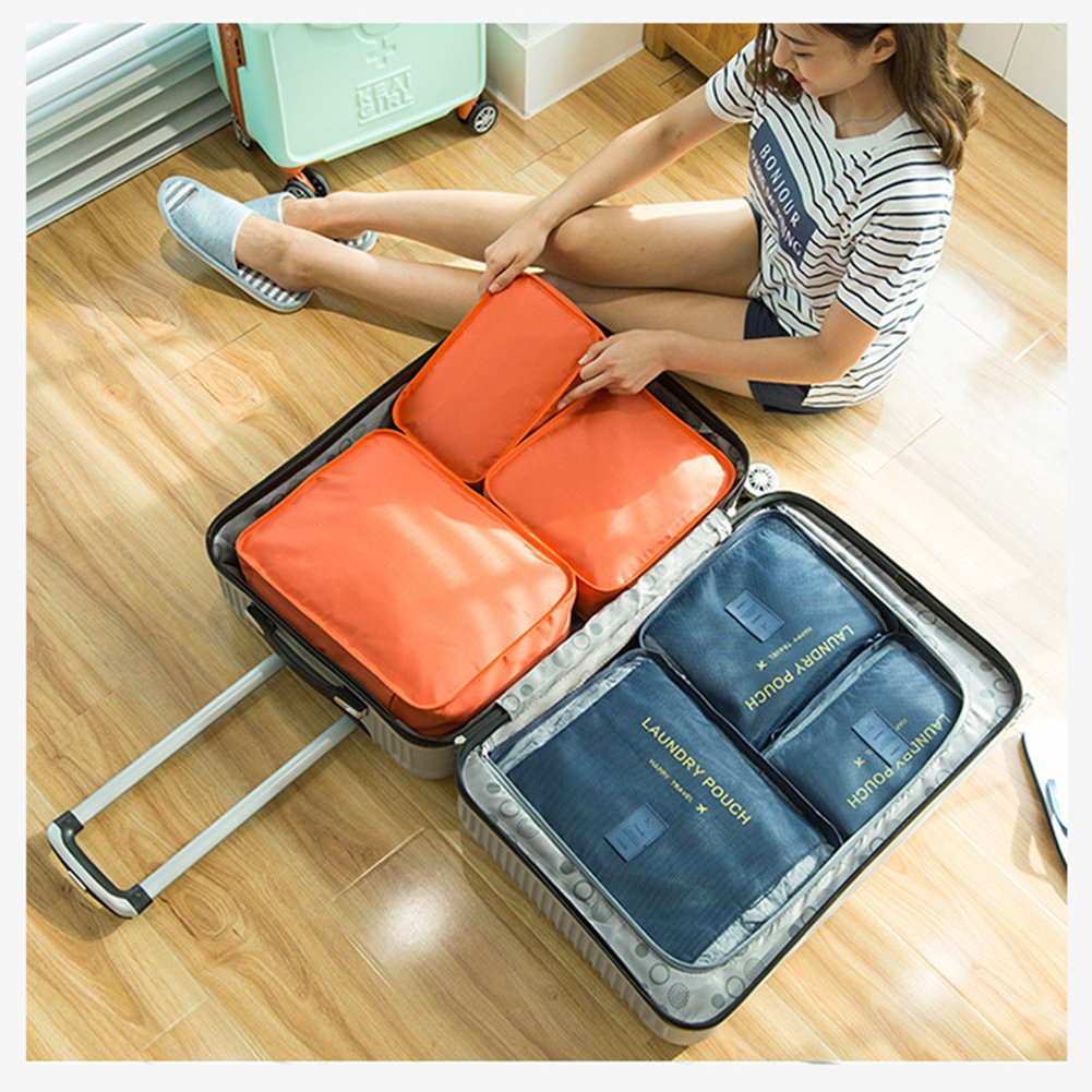 6 pcs Luggage Packing Organizers Packing Cubes Set for Travel Vinmax Storage Bags with Laundry Bag Packing Pouches (Orange)