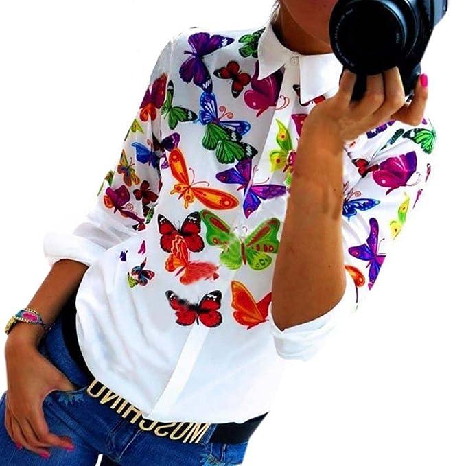 Xinantime Camisas Mujer,Xinan Gasa Mariposa Manga Larga Blusa Ocasional (S)