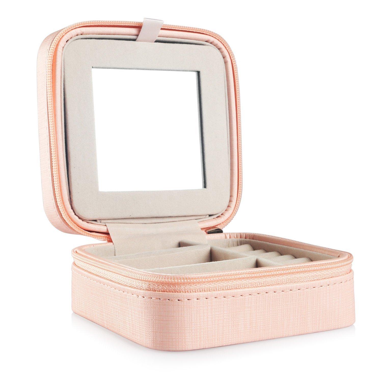 Rosa Vlando Kleine Faux Leder Reisen Schmuck Box Organizer Display Aufbewahrungsbox Fall f/ür Ringe Ohrringe Halskette mit Spiegel