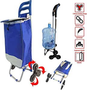 Stair Climber Trolley Dolly with Detachable Bag Utility Grocery Cart Foldable Tri Wheel 40LB Capacity Laundry Grocery - Lightweight & Easy Hauler