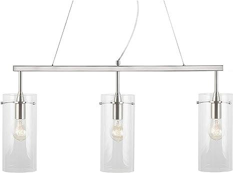 Effimero 3 Light Kitchen Island Hanging Fixture Linea di Liara LL-P331-BN Brushed Nickel