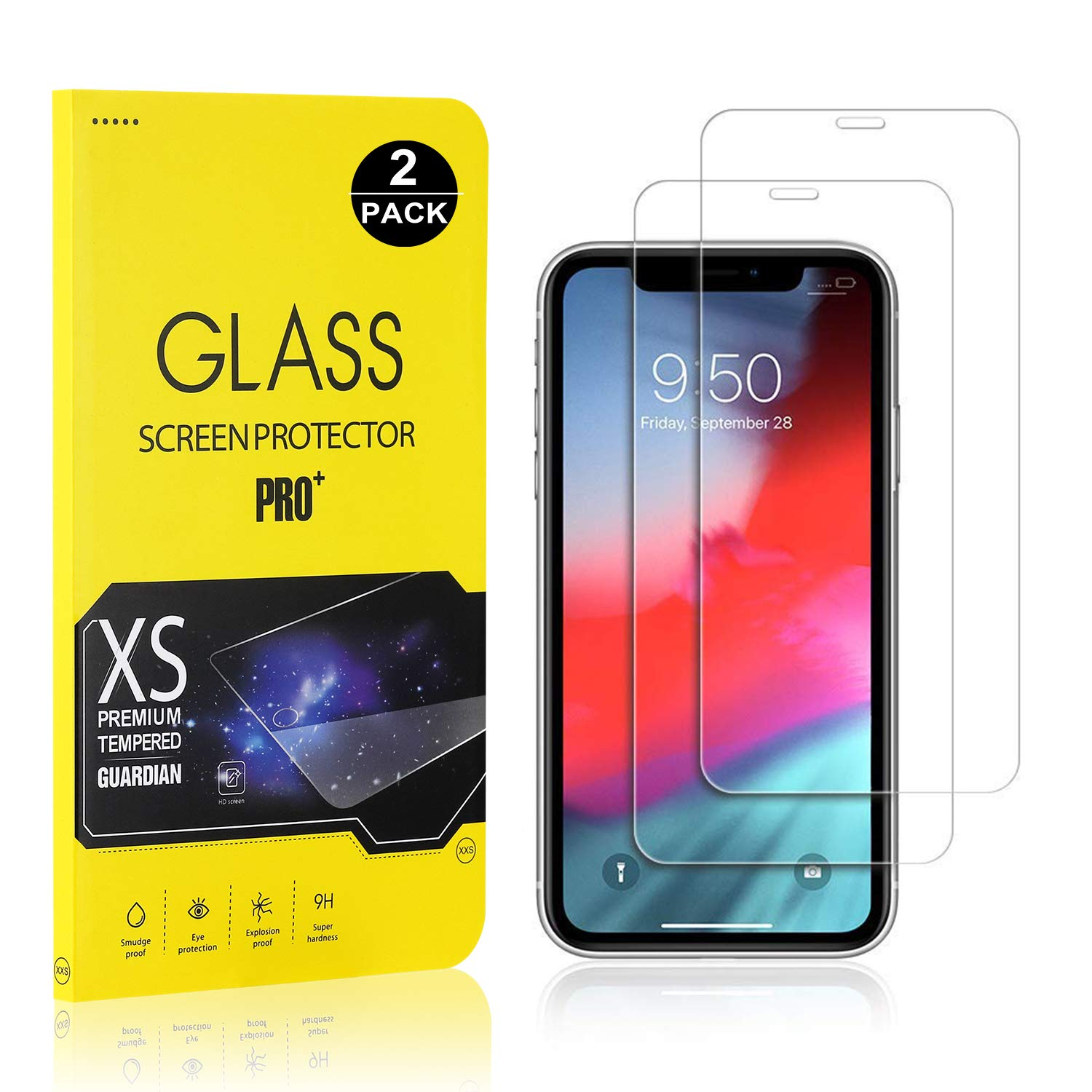 Screen Protector for iPhone XR, Bear Village Tempered Glass Screen Protector, 9H Hardness Screen Protector Film for iPhone XR, 2 Pack
