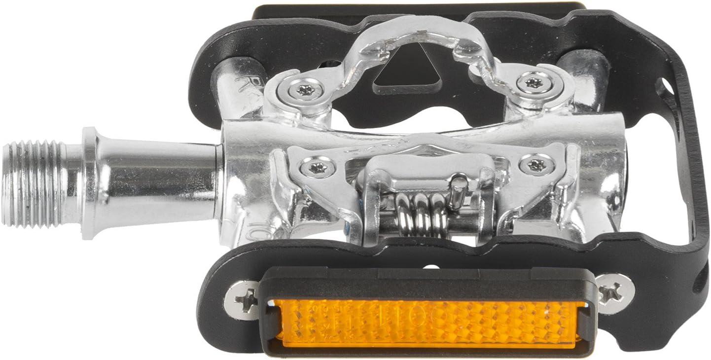 M-Wave Peasy Combi Pedal, Doble Función, Cuerpo de Aluminio y de Jaula, CNC Eje Crmo, con la Industria Rodamientos, Negro/Plata, One Size