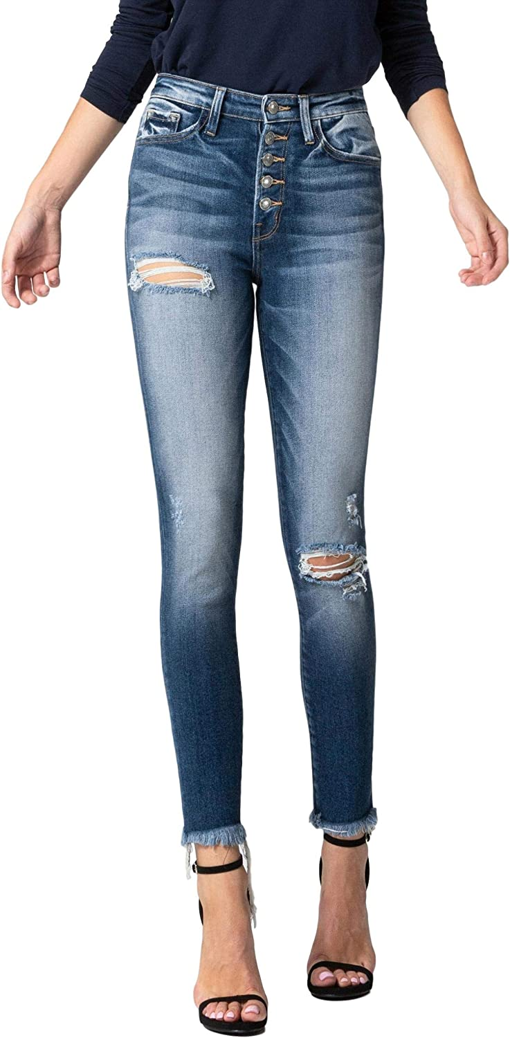 Vervet By Flying Monkey Jeans Stay With Me High Rise Button Fly Skinny Vt731 Dark Blue At Amazon Women S Jeans Store