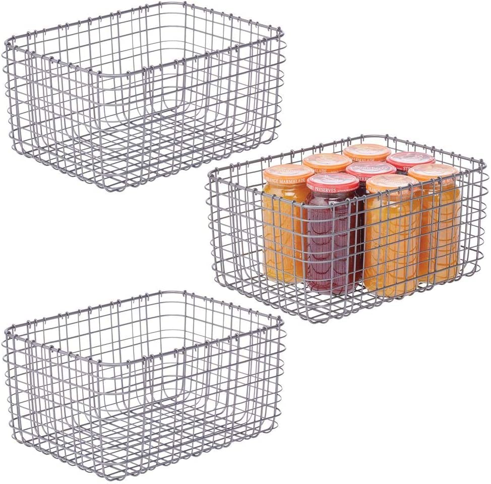 mDesign Farmhouse Decor Metal Wire Food Organizer Storage Bin Basket for Kitchen Cabinets, Pantry, Bathroom, Laundry Room, Closets, Garage, 3 Pack - Graphite Gray