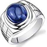 Mens 8.00 Carats Created Sapphire Ring Sterling Silver Rhodium Nickel Finish Sizes 8 to 13