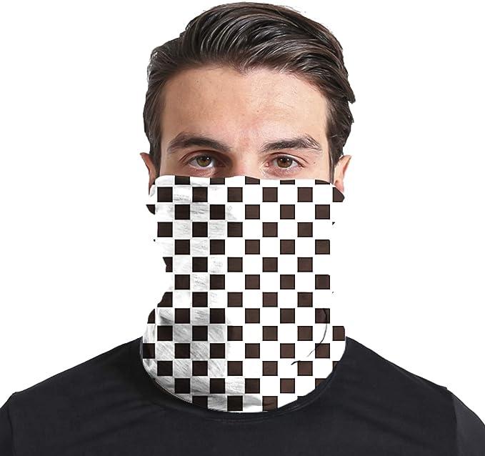 Triv Seamless Bandana Neck Gaiter Cloth Face Mask Washable Reusable Balaclava Face Cover (Checkered) at Amazon Men's Clothing store