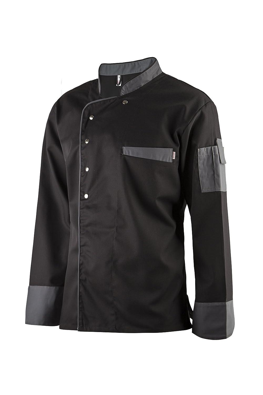 Clinotest Kochjacke, Bäckerjacke, langarm mit Druckknopfverschluss, in der Farbe Black, Modern Style Bäckerjacke