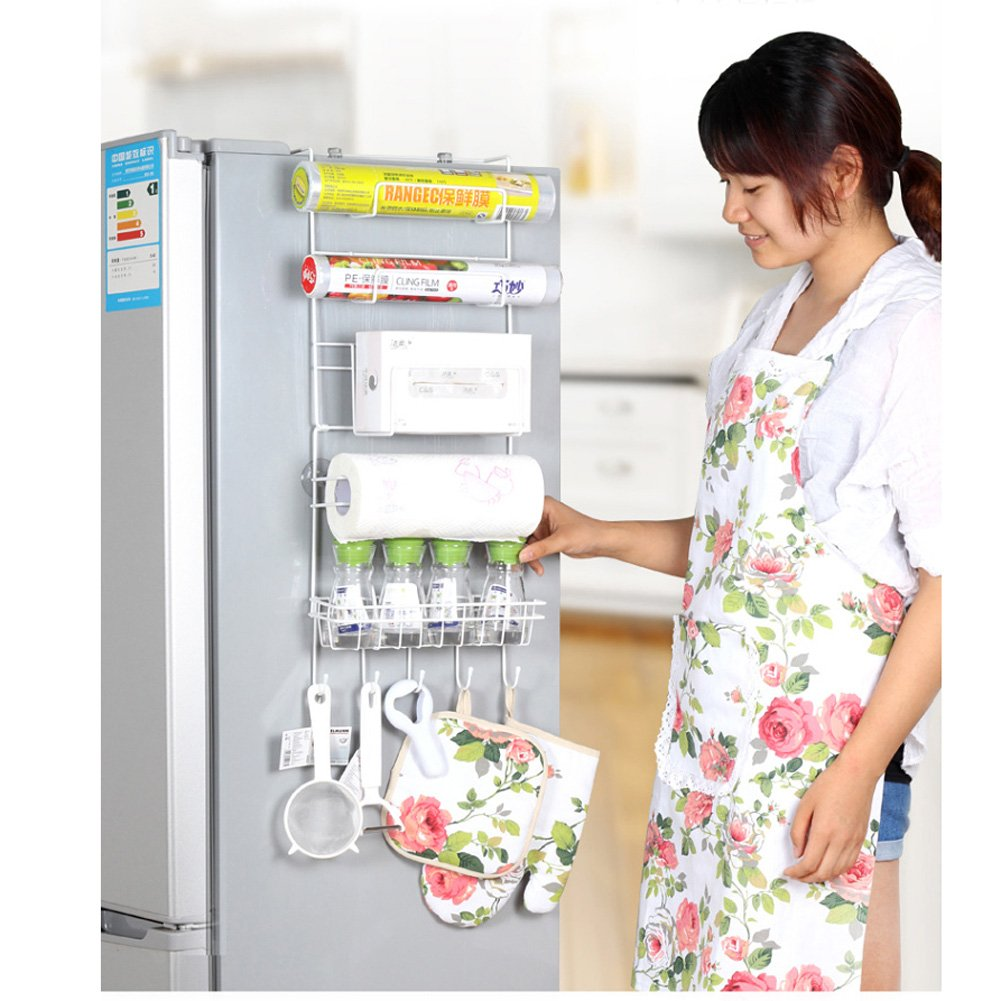 SHENGXIA Multifunction Metal Refrigerator Storage Rack Kitchen Wrap Organizer/Holder with 4 Suction Cups US Stock