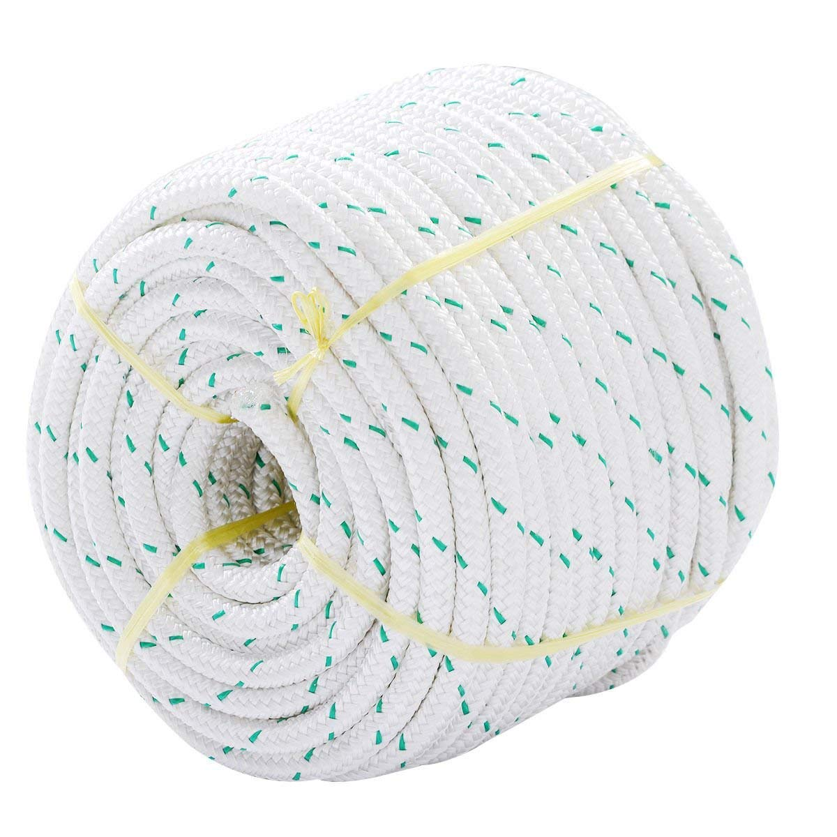 Giantex 3/7'' X 150' Double Braid Polyester Rope Sling 5900lbs Breaking Strength Climbing Ropes, White