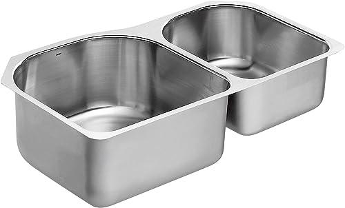 Moen G18264 1800 Series 18 Gauge Double Bowl Undermount Sink, Stainless Steel